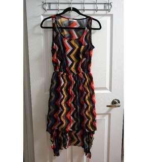 Chevron Pattern Hi-Low Dress (Size L)