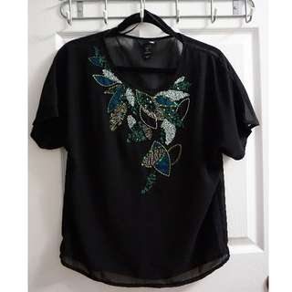 H&M Sequined Blouse (Size 8)