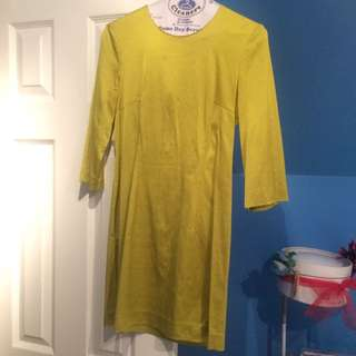 French Connection Green/Yellow Metallic Dress Size 0