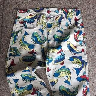 Kenzo Fish Print White Jeans