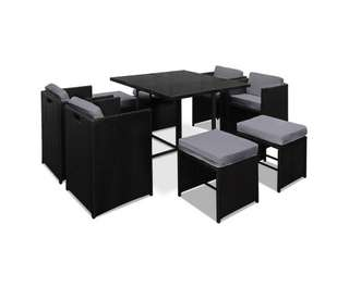 Hawaii Dining 9 Seater Set – Black & Grey