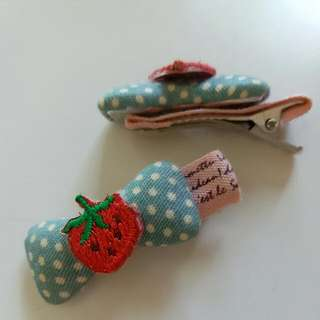Strawberry Bow Hair Clips