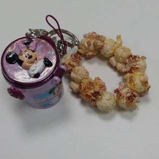 含郵)米妮 爆米花 吊飾  爆米花桶 迪士尼