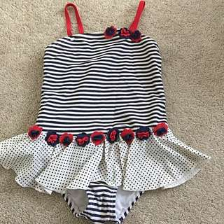 Girl Blue And White Stripes Swimsuit