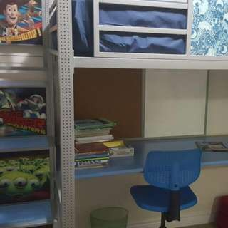 Twin  Bed With Study table And Laundry bin..