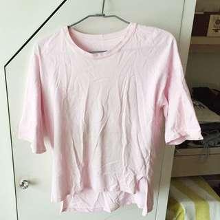 粉紅前長後短上衣