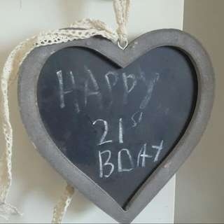 Hanging Love Heart Chalk Board