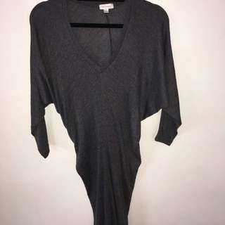 Grey Knitted Fitted Dress