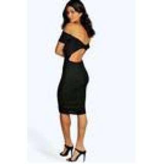 Boohoo Black off Shoulder Midi Dress