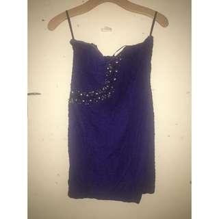 Ally Navy Blue Mini Strapless Dress