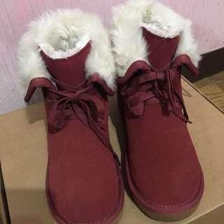 CACO酒紅色雪靴37號