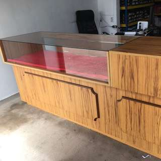 Beautiful Wood and Glass Counter