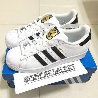 Authentic Adidas Superstar Black Stripes With Gold Label