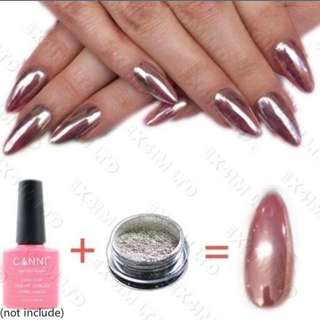 ROSE GOLD MIRROR CHROME POWDER 3gr EFFECT NAILS ART PIGMENT SILVER