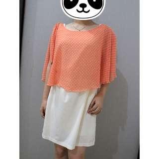 Dress casual orange pastelle poladot