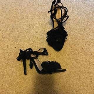 Public Desire Size 6 Tie Fringe Detail Heels