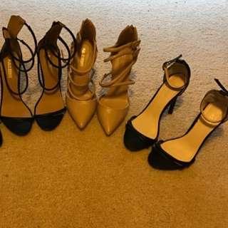 3 Pairs Size 6 Public Desiree High Heels Stilettos