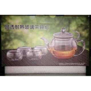 🚚 【全新品】晶透耐熱玻璃茶具組(一壺四杯)