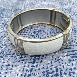 Synthetic Leather Bracelet - White