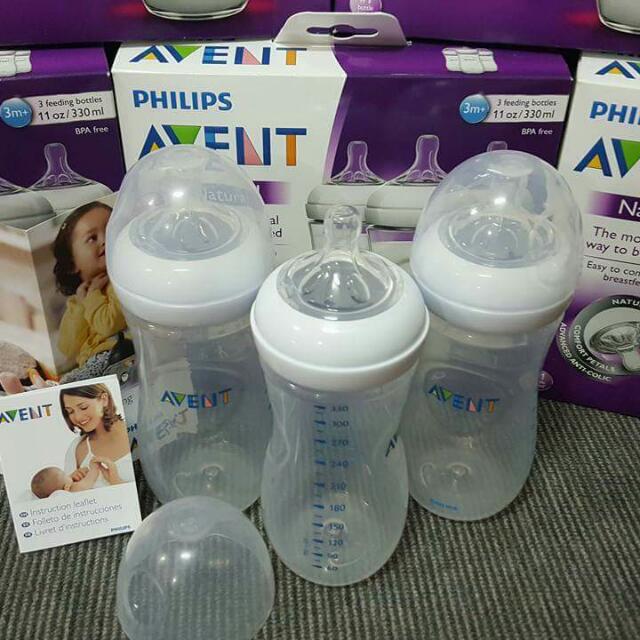 SALE!!! 3 Bottles Of 11 Oz. AVENT Natural Feeding Bottles 5d17b0a51ebe