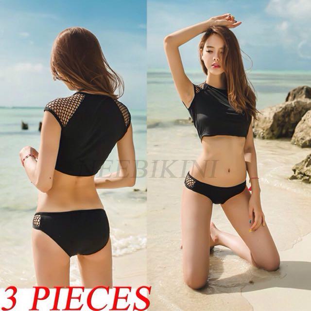 350c82b6bd 💥3 In 1set💥 Black Modern Korean Swimsuit
