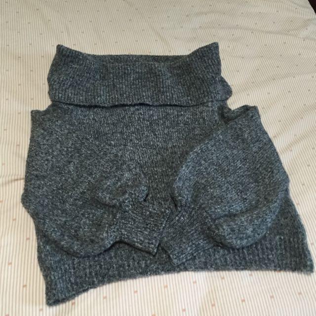 厚針織一字領針織毛衣