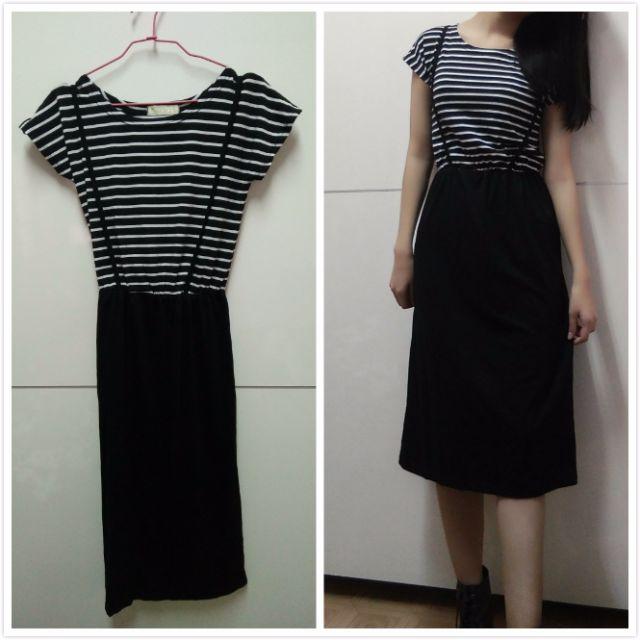 黑白條紋 吊帶 連身長裙