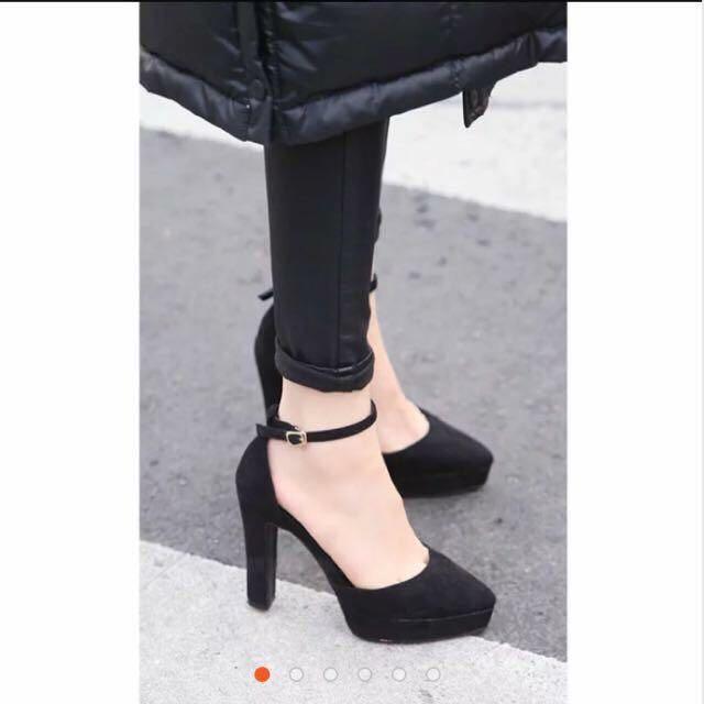 厚底高跟鞋 黑色 35碼