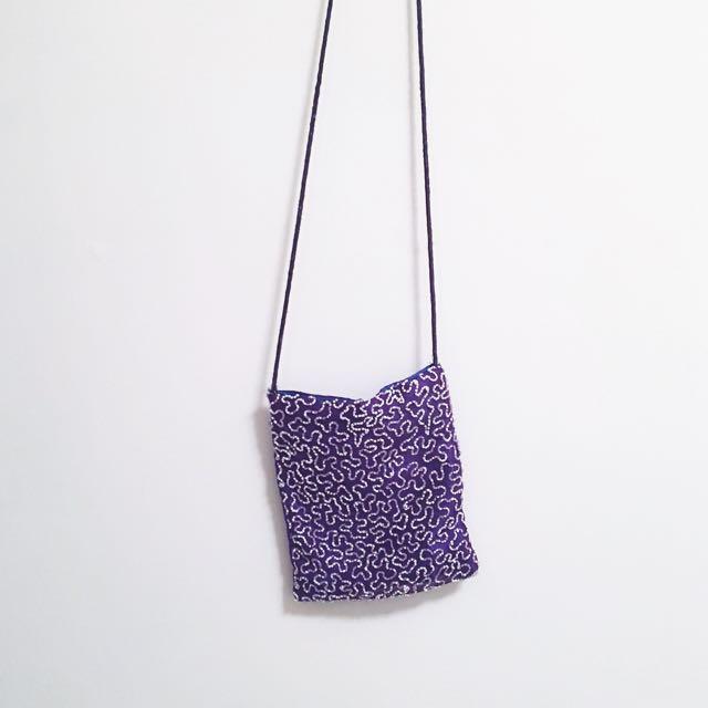 古著 斜背小包包 紫