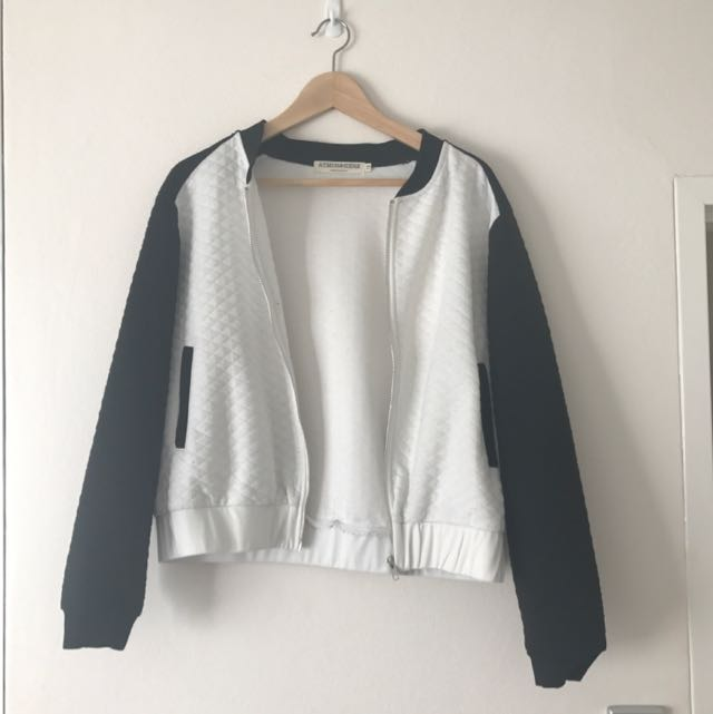 ATMOS&HERE Black And White Bomber Jacket