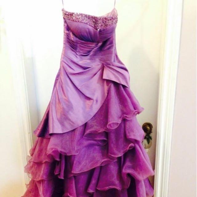Beautiful Strapless Corset-Style Purple Prom Dress