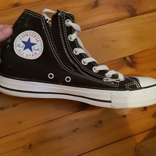 Black Zip And Tie Up Converse