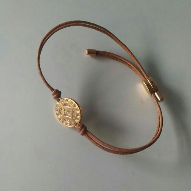 Brand New Fossil Rose Gold Leather Crystal Bracelet