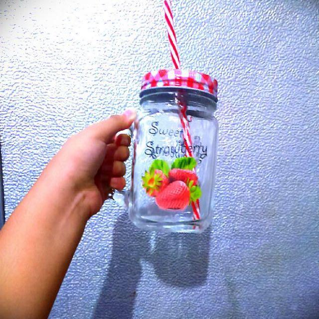 Cute Strawberry Drinking Jar