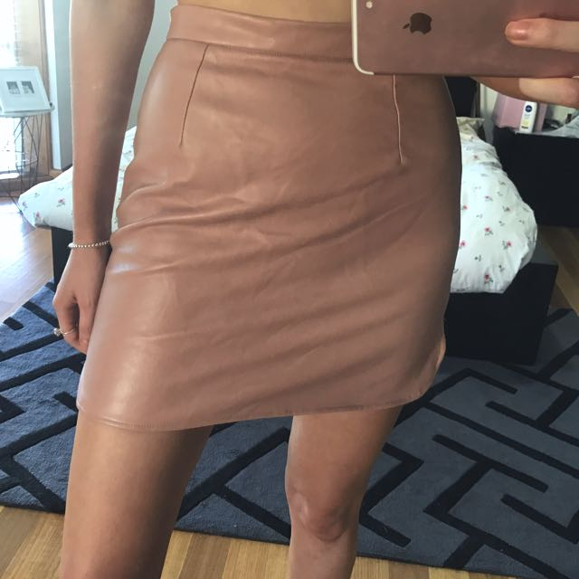 Faux Leather Nude/salmon Pink Skirt