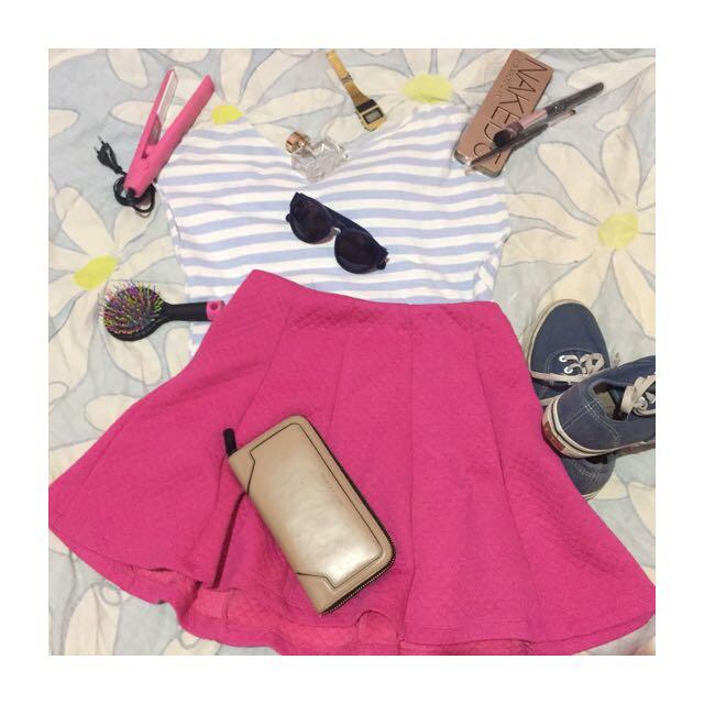Flare Skirt Color Box ( Pink) (M),masih sangat bagus tidak permah dipakai hanya lepas tag saja