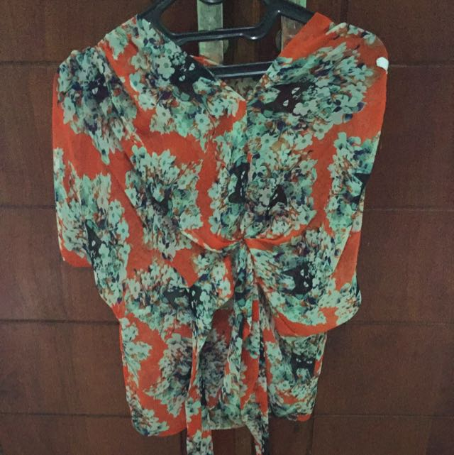 Flower Orange Blouse