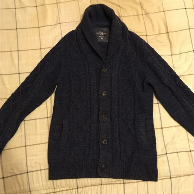 H&M 深藍色針織毛衣罩衫