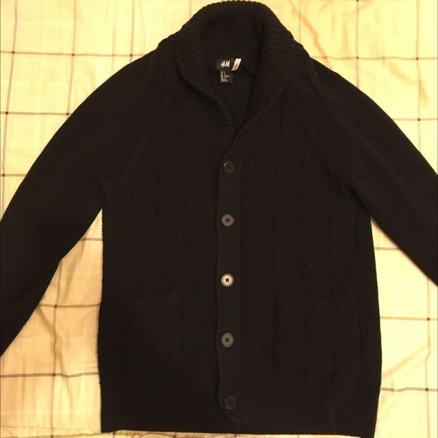 H&M 黑色針織毛衣罩衫