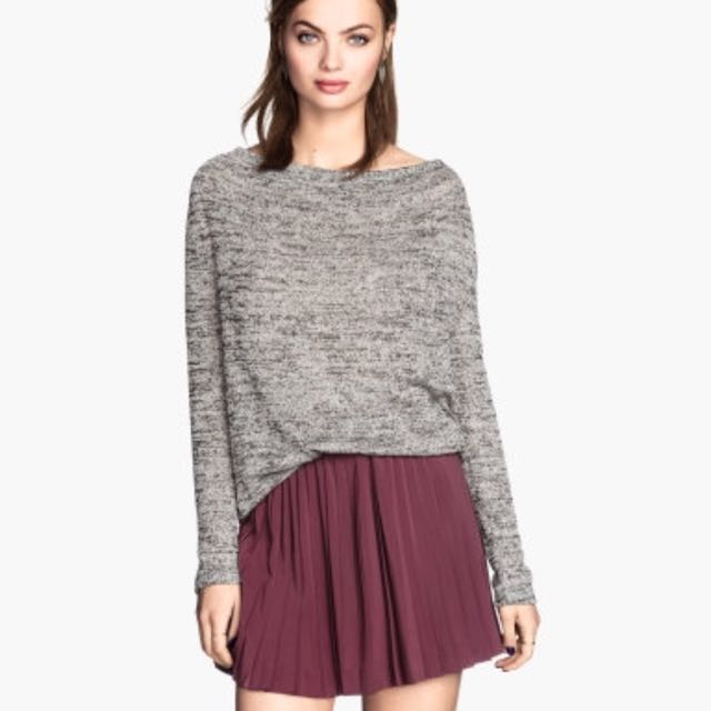 5c6f1937511c1d H&m Pleated Skirt In Burgundy / Maroon, Women's Fashion, Clothes ...