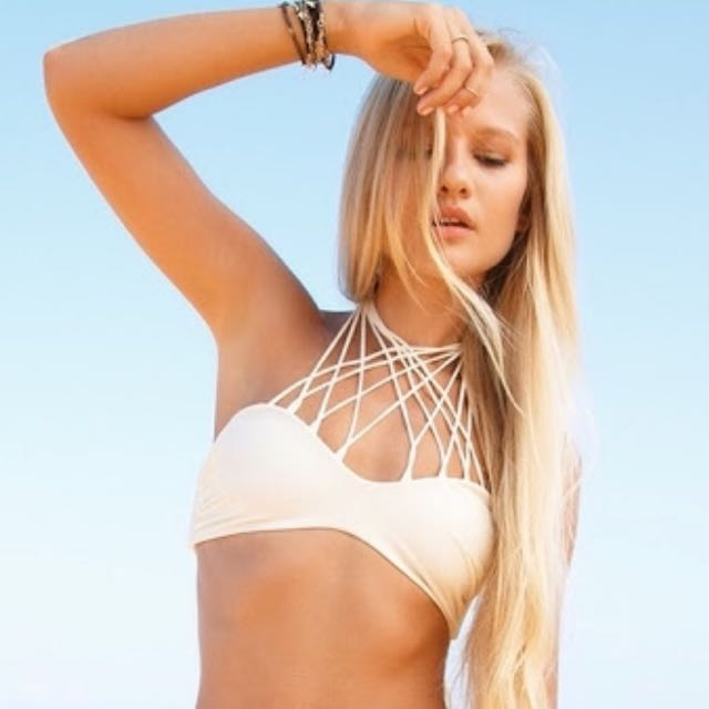 Mikoh Size L Kahala Bikini Top In Bone