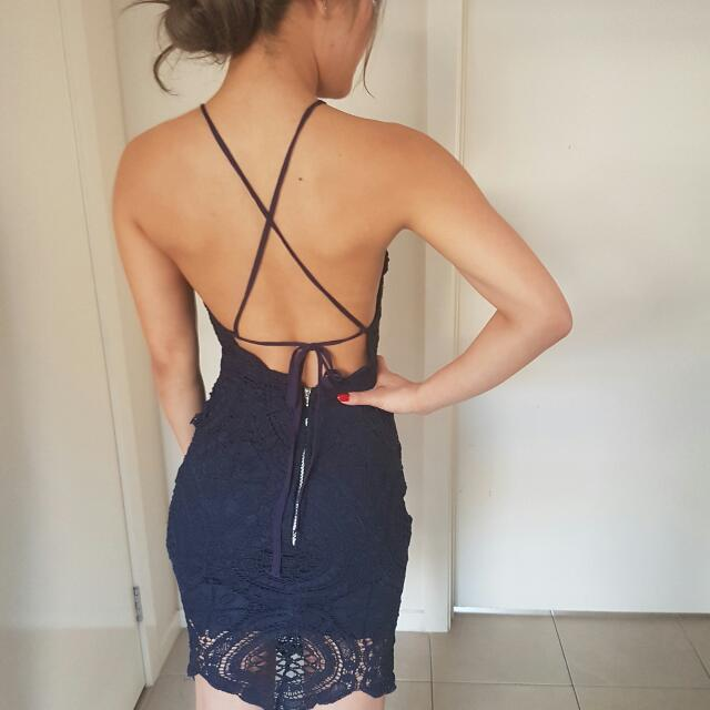 Navy Backless Dress