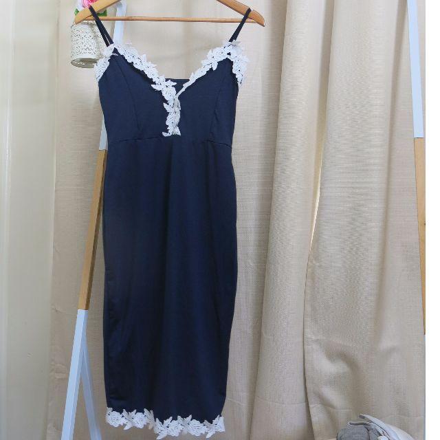 Navy Blue Midi Dress w/ Lace Trimming