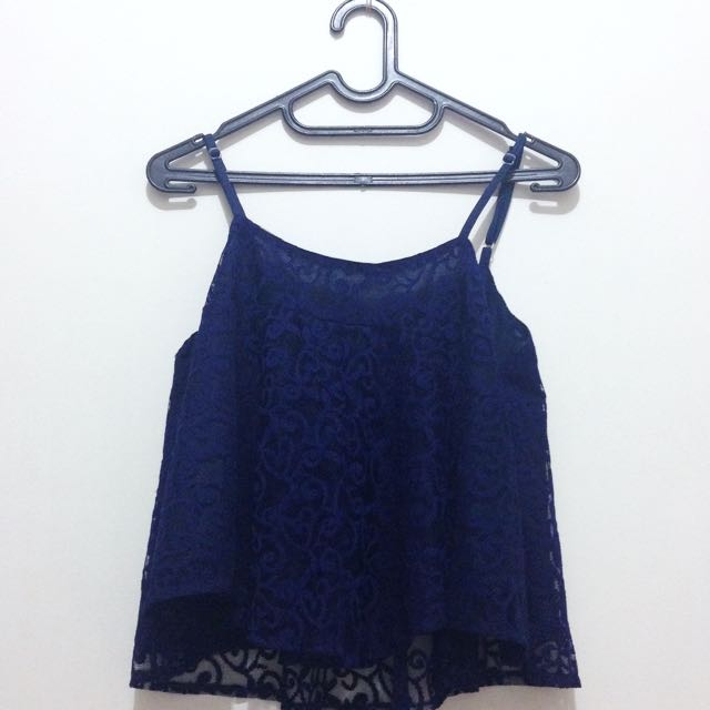 Navy Brokat Sleeveless Top