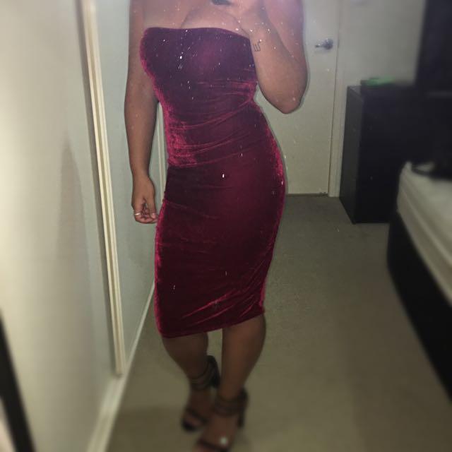 Red Velvet Strapless Dress