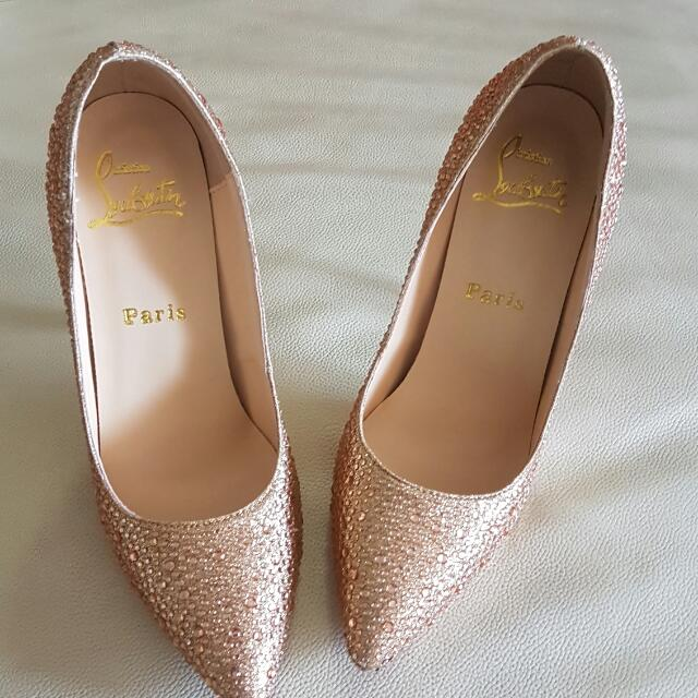 Rose Gold Rhinestone Heels