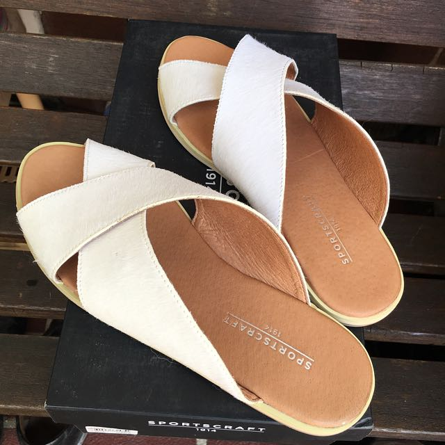 SPORTSCRAFT White leather slip-on sandals