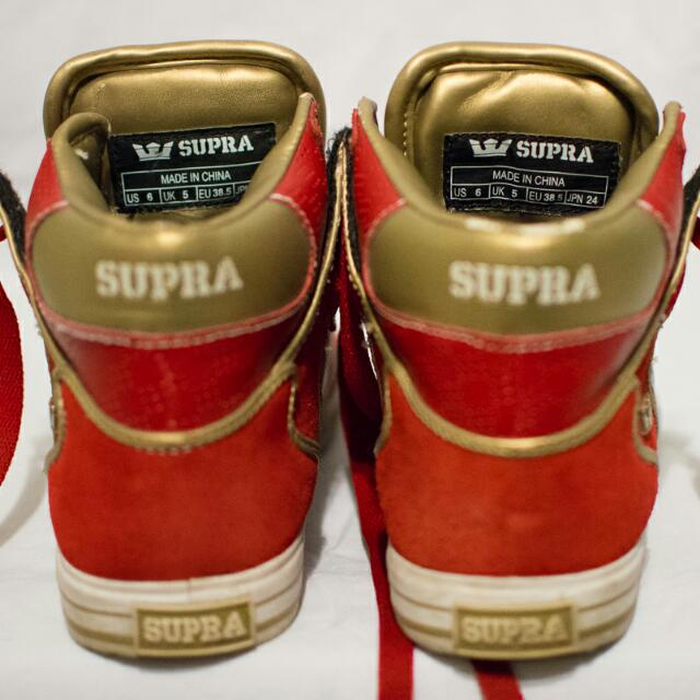 Supra VAIDER (Red/Gold) Size 6 Mens
