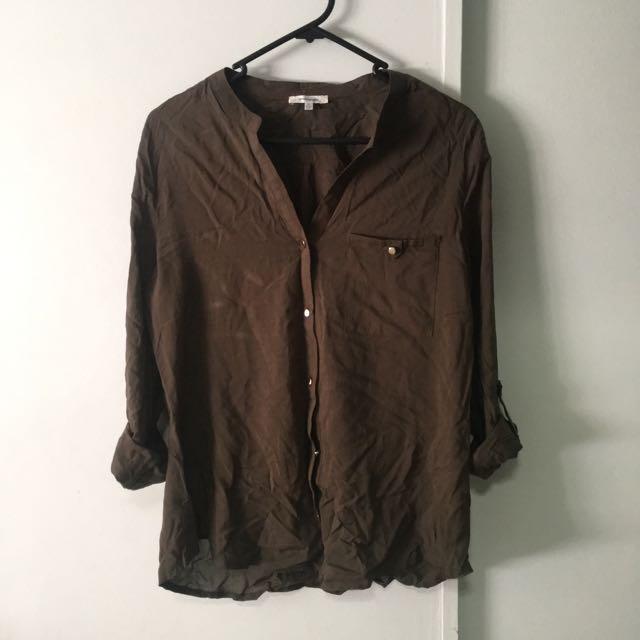 Valleygirl Khaki Long Sleeve Top - Size 10