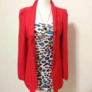 韓【QZSN】 紅色雪紡顯瘦版西裝外套